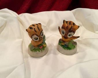 Retro owl figurines