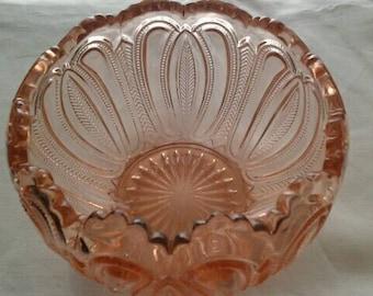 Vintage EAPG Pink Rose Bowl Feather & Loop Pattern aka Feathered Arrow