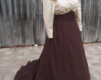 1890s Late Victorian Belle Epoque Dress. Blouse & Skirt. Trained skirt with lift option. Linen and Sateen.  XL