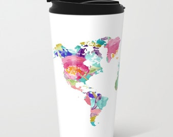 World Map Metal Travel Mug - Stainless Steel Travel Mug With Lid - Gift For Men - Gift For Women - Aldari Home