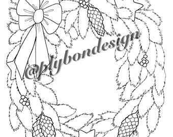 Wreath Coloring Page - Digital Download