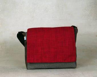 red messenger bag - over shoulder bag - red crossbody bag - vegan bag - hipster bag - vegan cross body bag - birthday gift for boyfriend