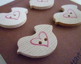 CLEARANCE Wooden Bird Shaped Buttons - Love Bird Collection