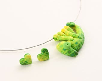 Hand made polymer clay cute GREEN chameleon set