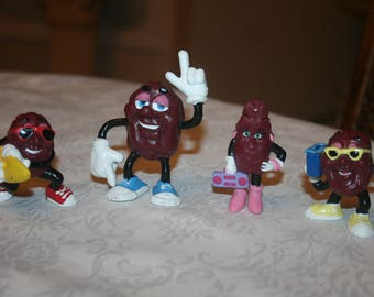 Four 4 Vintage California Raisins Figures Figurines, Girl Female, Surf Board, Radio, Hand Up