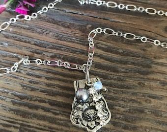 Pewter necklace, silver necklace, vintage, flatware jewelry, swarovski, gift under 25
