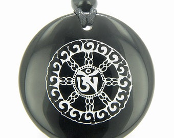 Om Mantra of Mantras Amulet Black Agate Magic Pendant Necklace