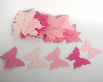 70 Butterfly Die Cut, Pink Mixture, 1 1/4 x 1 inch Cut Outs, Punches Butterflies, Scrapbook