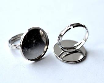 1 gray silver 18mm bezel ring