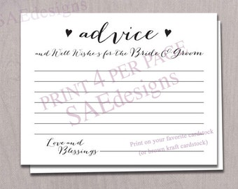Printable Advice Cards for the Bride and Groom Newlyweds Mr Mrs Couple Bridal Shower Wedding Instant Download DIY PRINTABLE Games Reception