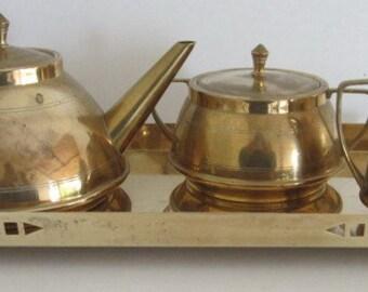 copper tea set with beautiful plate  art nouveau jugendstil  Fischer