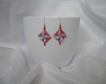 """Earrings """"Windmill"""" origami, Carnival, paper and beads, upcycling"""