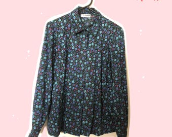 Floral button up blouse (Fella Hamilton): Size 8