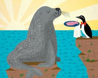 Sealed With A Fish - Children's Wildlife Animal Art Print by Oliver Lake - iOTA iLLUSTRATION