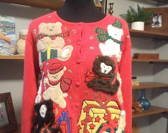 Vintage Red Christmas Cardigan Sweater with Teddy Bears ~ Textures ~ Christmas Party ~ Medium