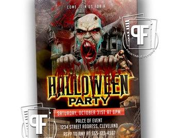 Halloween Party Invitation - Vampire Invitation - Halloween Birthday - Costume Party -  Adult Halloween Party Invitation
