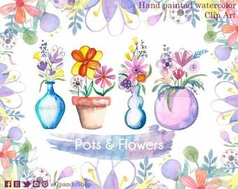 Flowerpot clip art floral watercolor  spring png garden image spring flowers craft images scrapbook flowers pots clip art diy invitations