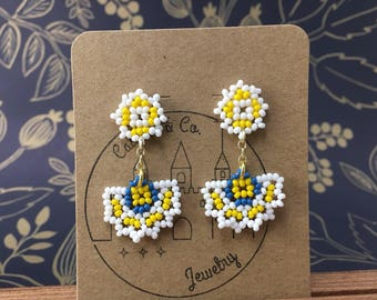 Yellow/White/Sky Blue Inspired Abanico Earrings