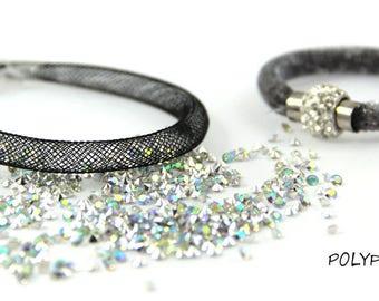 Kit (8mm) mesh tube Bracelet black and rhinestone Crystal AB (5 grams)