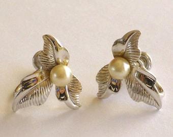 Sterling Pearl Earrings Signed Van Dell