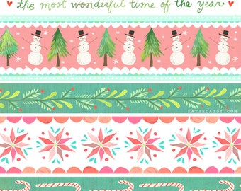 Holiday Stripe Art Print| Watercolor Lettering | Christmas Wall Art | Katie Daisy | 8x10