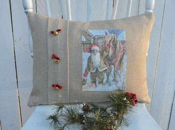 Santa's Horse Christmas Pillow