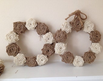 "Hessian Rose Wreath Ivory & Natural 10"" x 10"""