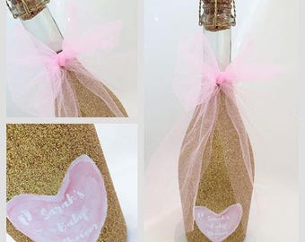 Baby Shower Bottle of Non- Alcoholic Wine for mum to be Glittered and Personalised New Baby