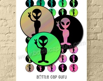 Alien Peace Sign 1 Inch Circles / Round Digital Collage Sheet for Crafts / Aliens Extraterrestrial ET Bottle Cap Images / PRINTABLE DOWNLOAD