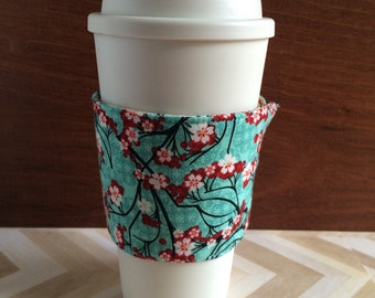 Fabric coffee cozy, coffee sleeve, stocking stuffer, teacher gift, coffee cosy, gift under 10, cherry blossom print