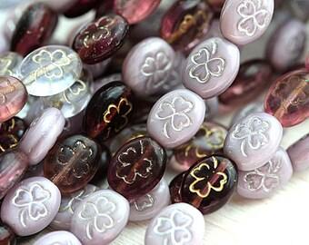 Shamrock beads, Violet purple czech glass beads, clover beads mix, Czech glass, St. Patrick Day, clover beads, 10x8mm - 10Pc - 2206