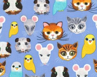 Timeless Treasures Pet Shop Blue Pet Faces Fabric - 1 yard