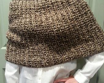 Shoulder Wrap.. Shawl...Knitting..JubeJube Knits..Winter Chic..Eco Friendly..Handmade..Tweed Yarn..Fall/Winter