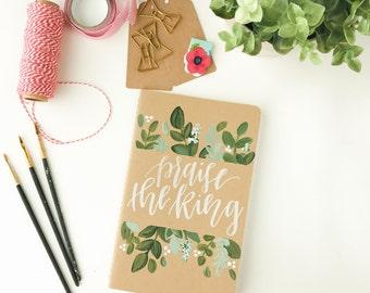 Hand Painted Prayer Journal/ Moleskin Journal: Greenery Theme
