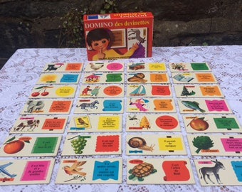 Vintage French picture Dominoes, 'Domino des devinettes'