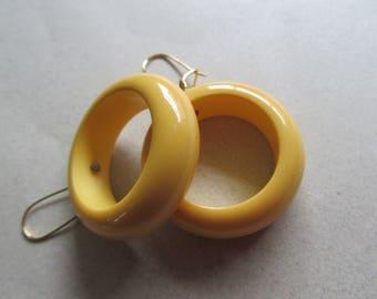 Vintage Genuine Bakelite Mod Hoop Earrings Maize Color New Ear wires 1960's Costume Jewelry Yellow Hoops MoonlightMartini