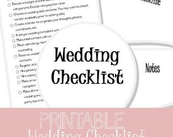 PRINTABLE Wedding Checklist | Wedding To Do List | Wedding Organizer