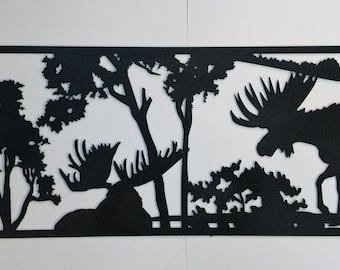 Moose Wildlife Panel Wall Decor