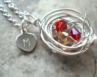 Birds Nest Necklace Personalized Initial Birth Stone Crystals Sterling Mothers Grandmothers Birthstones Custom Jewelry Silver