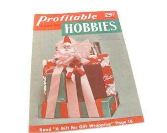 Vintage Christmas, 1950's Profitable Hobbies Magazine, Christmas Crafting