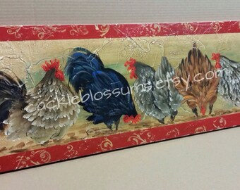 11 X 36 #516 Chickens Hens Scratching Art on Rustic Wood