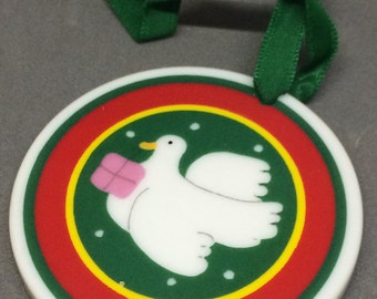 CLEARANCE! Vintage Lillian Vernon Country Christmas Porcelain Ornament Dove with Present Collectible