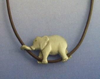 Elephant pendant  amulet sterling silver 925 necklace charm