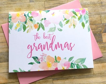 Pregnancy Reveal to Grandma Card - Pregnancy Announcement - The best Grandmas get Promoted to Great Grandma - new baby - SPRING BLOSSOM