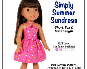 Pixie Faire Love U Bunches Simply Summer Sundress Doll Clothes Pattern for 14.5 Inch Dolls Such As WellieWishers Dolls  - PDF