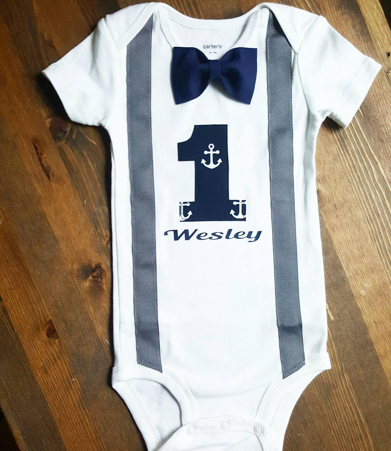 Boys First Birthday Outfit Navy Blue Grey Birthday