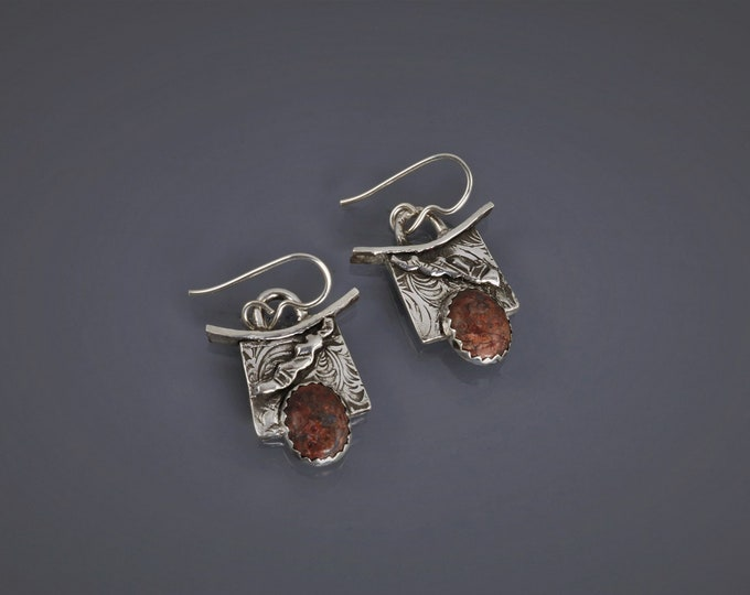 Item 4279 - Abstract Unique Lightweight Handcrafted Layered Fine and Sterling Silver Earrings with Leopard Skin Jasper