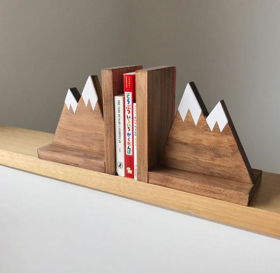 Fresh Mountain Peak Book ends Woodland Nursery Decor Stained XX75