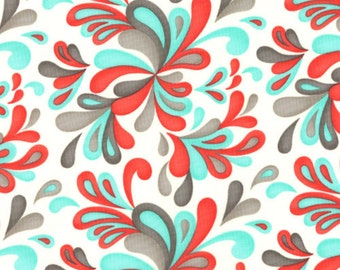 OOP HTF 1.25 yards Flirt Valentines Day Fabric by MODA Plums Paisley Swirls Multicolors on White 704-13