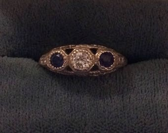 Vintage Antique White Gold Filigree Blue Sapphire Diamond Ring